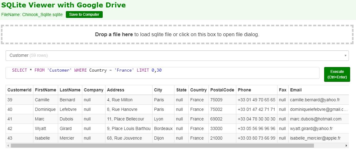 Des sites pour ouvrir et manipuler une base de données