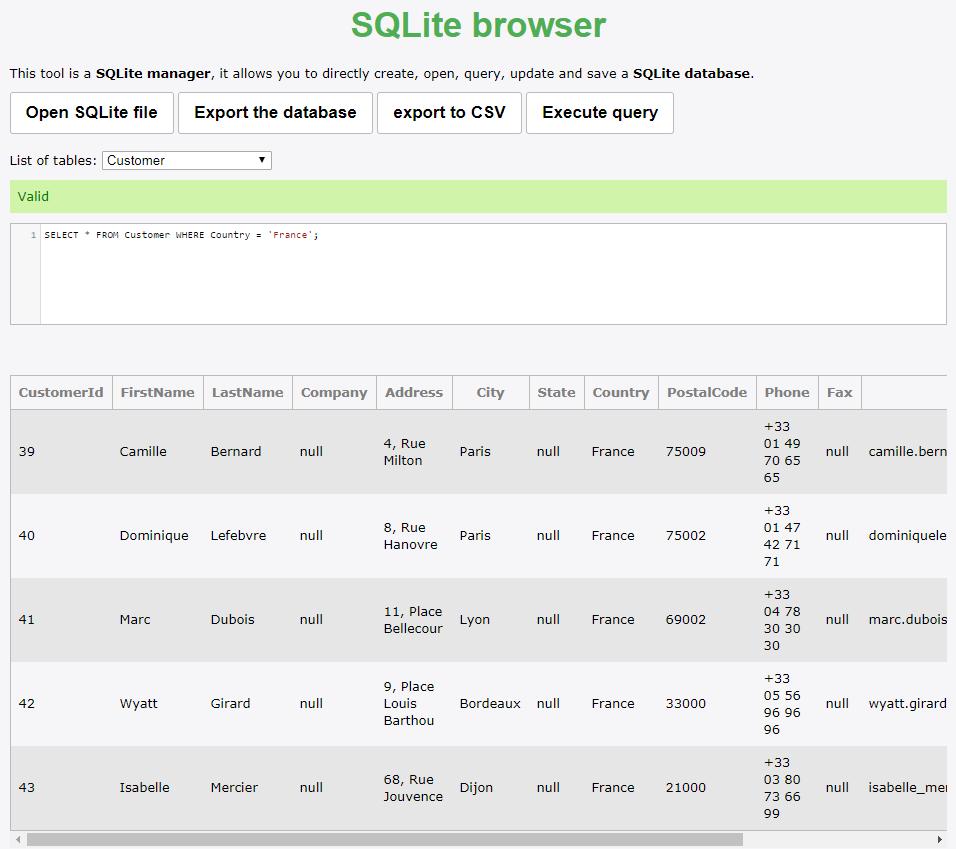 Des sites pour ouvrir et manipuler une base de données SQLite - Dév